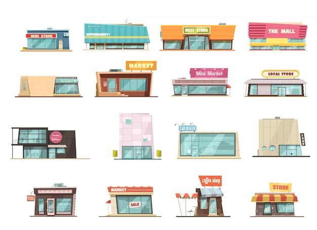 Sklepowa budynek kreskówka ustawiająca z mini sklepów symbolami odizolowywał wektorową ilustrację
