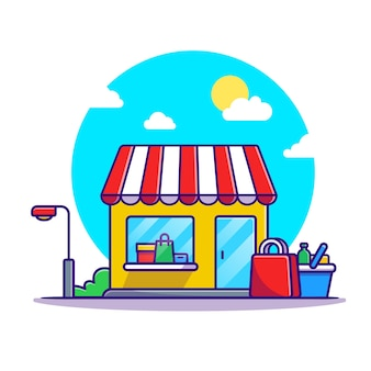 Sklepowy koszyk i kreskówka budynku sklepu