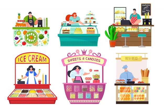 Sklepy z licznikami żywności zestaw na białym tle ilustracji, stoisko sprzedawcy i stragany z jedzeniem na rynku, wózki z cukierkami, chleb.