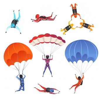 Skoczki spadochronowe. sporty ekstremalne spadochroniarstwo paralotniarstwo mężczyzn i kobiet sportowców w postaciach nieba