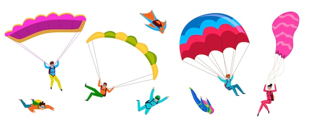 Skoczkowie. profesjonalne skoki spadochronowe, ludzie skaczą ze spadochronem, latają na paralotni. aktywny styl życia hobby skrzydła ze spadochronem przygoda latające postacie