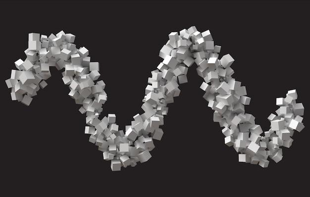 Skok fali utworzony z kostek o losowych rozmiarach.