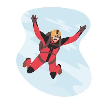 Skoki do podstawy zajęcia ekstremalne, rekreacja. skoki spadochroniarza ze spadochronem w niebo. skoki spadochronowe sport spadochronowy. spadochroniarz latający przez chmury. ilustracja kreskówka wektor