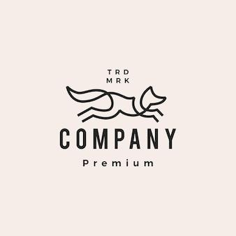 Skoki lisa linia zarys monoline sztuki hipster vintage logo wektor ikona ilustracja