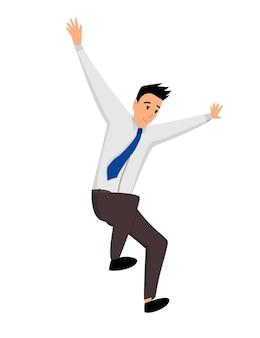 Skoki ludzi biznesu. biznes człowiek skacze na białym tle.