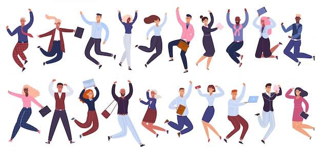 Skoki ludzi biznesu. szczęśliwy biznesmen, pracownicy biurowi skakali razem, zestaw ilustracji kolegów celebracja sukcesu. kreskówka biznesmen skoki razem pracownika
