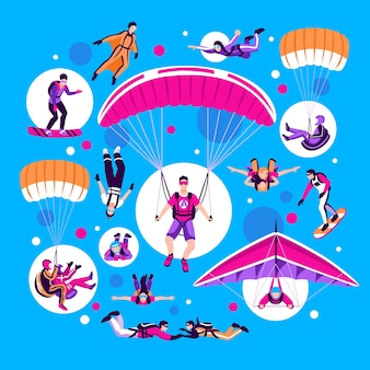 Skoki spadochronowe i spadochroniarstwo na niebieskim tle płaskiej ilustracji wektorowych na białym tle