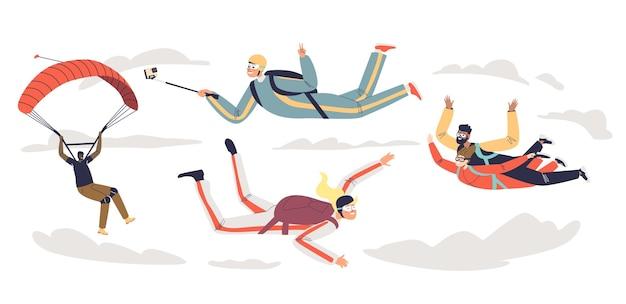 Skoki spadochronowe osób ze spadochronem. grupa zawodowych spadochroniarzy paralotniarskich. zespół skoczków spadochronowych w swobodnym spadku. ilustracja kreskówka płaski wektor