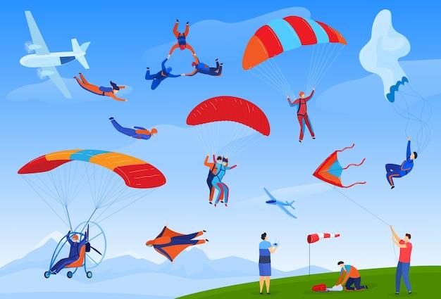Skoki spadochronowe sport ekstremalny zestaw ilustracji wektorowych, kreskówka płaski spadochron spadochroniarz sportowiec skoki ze spadochronami