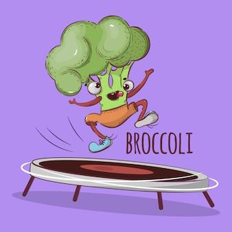 Skoki trampoliny brokuły sport zestaw ilustracji