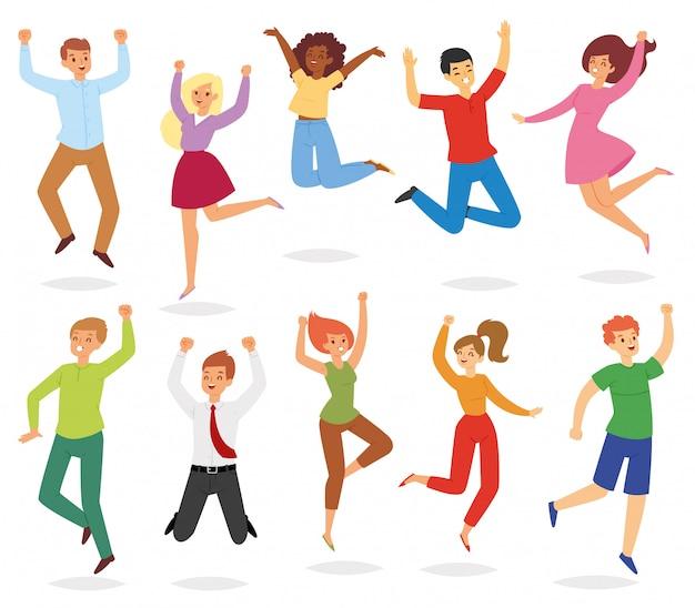 Skokowi ludzie szczęśliwej kobiety lub mężczyzna charakteru w aktywności szczęścia i wolności ilustracyjny ustawiający dorosli uśmiechnięci mężczyzna i kobieta skaczą energię na białym tle