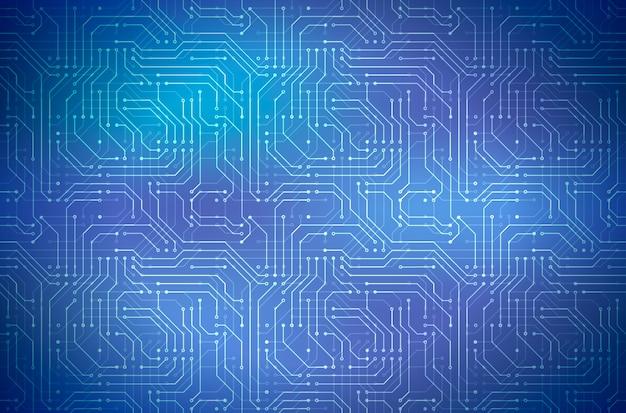 Skomplikowany komputerowy mikroukład na błękitnym, abstrakcjonistycznym horyzontalnym tle