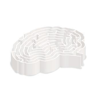 Skomplikowany szary labirynt w kształcie mózgu w widoku izometrycznym na białym tle