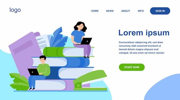 Skoncentrowani ludzie uczący się w szkole online