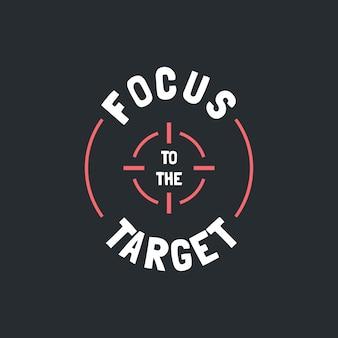 Skoncentruj się na cytacie motywacji docelowej odręczny projekt wektorowy