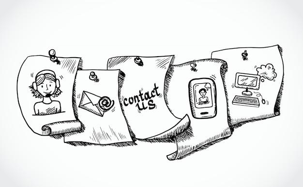 Skontaktuj się z nami ikony znaczniki papieru szkic