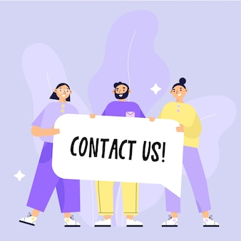 Skontaktuj się z nami ilustracji. skontaktuj się z nami grupa osób posiadających transparent z tekstem. płaska ilustracja.