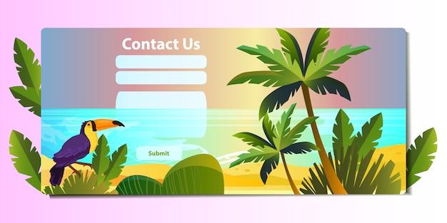 Skontaktuj się z nami koncepcja strony internetowej w stylu płaskiej z egzotycznymi roślinami, drzewami, tukanem i oceanem.