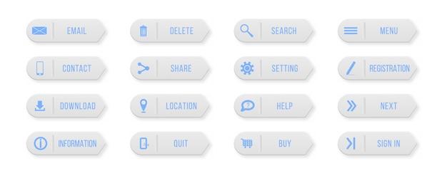 Skontaktuj się z nami w kolorowe prostokątne przyciski internetowe. elementy projektu witryny lub aplikacji.