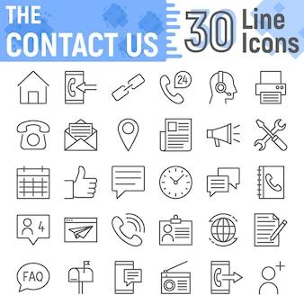 Skontaktuj się z nami zestaw ikon linii, kolekcja symboli internetowych