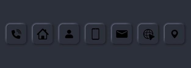 Skontaktuj się z nami zestaw ikon. symbol komunikacji do projektowania stron internetowych, logo, aplikacji, interfejsu użytkownika. przycisk kontaktu. poczta, telefon, kula ziemska, adres, com, e-mail. styl neumorfizmu. wektor eps10. na białym tle