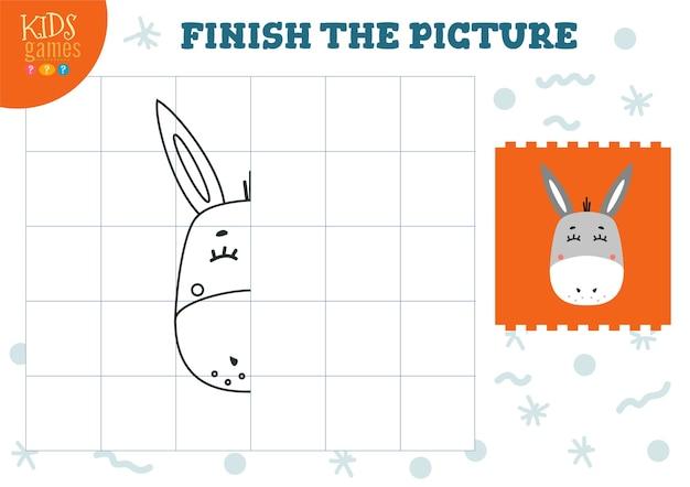 Skopiuj ilustrację obrazu. kompletna i kolorująca gra dla dzieci w wieku przedszkolnym. kreskówka osioł kontur do rysowania