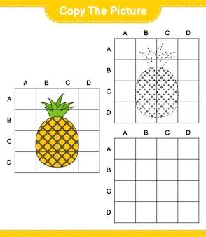 Skopiuj obraz, skopiuj obraz ananasa za pomocą linii siatki. gra edukacyjna dla dzieci, arkusz do druku