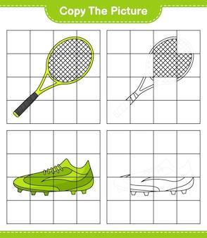 Skopiuj obraz, skopiuj obraz rakiety tenisowej i butów piłkarskich za pomocą linii siatki. gra edukacyjna dla dzieci, arkusz do druku, ilustracja wektorowa
