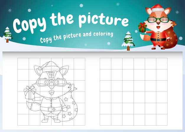 Skopiuj obrazek gry dla dzieci i stronę do kolorowania ze słodkim lisem za pomocą kostiumu świętego mikołaja