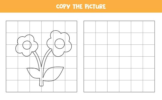 Skopiuj obrazek przedstawiający animowany kwiat. gra edukacyjna dla dzieci. ćwiczenia pisma ręcznego.