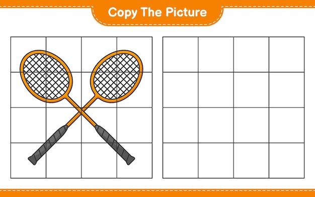Skopiuj obrazek skopiuj obraz rakietek do badmintona za pomocą linii siatki edukacyjna gra dla dzieci