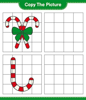 Skopiuj obrazek, skopiuj obrazek candy canes with ribbon za pomocą linii siatki. gra edukacyjna dla dzieci, arkusz do druku
