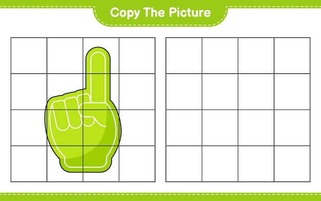 Skopiuj obrazek skopiuj obrazek foam finger za pomocą linii siatki gra edukacyjna dla dzieci