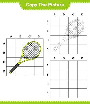 Skopiuj obrazek skopiuj obrazek rakiety tenisowej za pomocą linii siatki edukacyjna gra dla dzieci