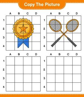 Skopiuj obrazek, skopiuj obrazek trophy i badminton rackets za pomocą linii siatki. gra edukacyjna dla dzieci, arkusz do druku, ilustracja wektorowa