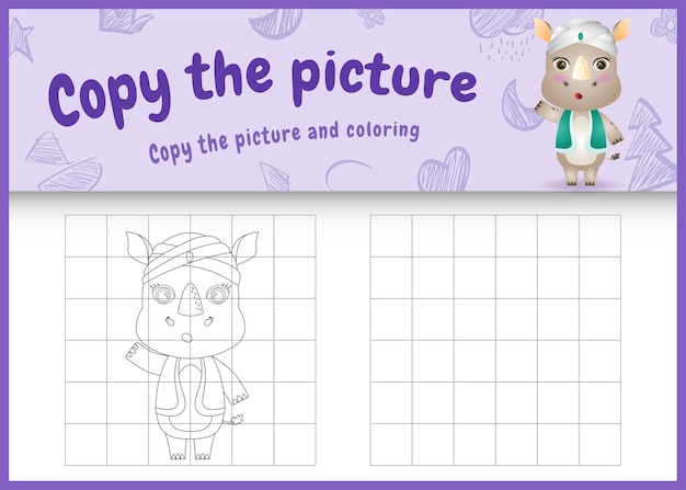 Skopiuj obrazkową grę dla dzieci i koloruj ramadan o tematyce ze słodkim nosorożcem w tradycyjnym arabskim stroju