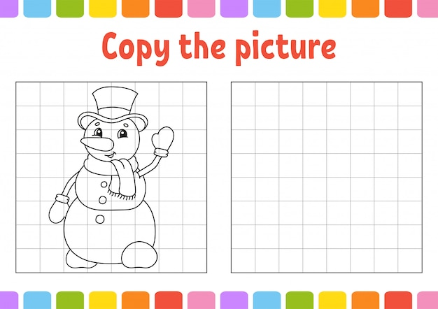 Skopiuj zdjęcie. kolorowanki dla dzieci. arkusz rozwijający edukację.
