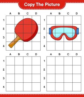 Skopiuj zdjęcie, skopiuj zdjęcie rakiety do ping-ponga i gogli za pomocą linii siatki. gra edukacyjna dla dzieci, arkusz do druku, ilustracja wektorowa