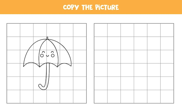 Skopiuj zdjęcie uroczego parasola z kawaii. gra edukacyjna dla dzieci. ćwiczenie pisma ręcznego.