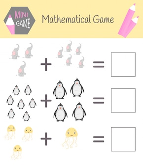 Skoroszyt z matematyki do edukacji przedszkolnej. puzzle dla dzieci. naucz się liczyć. rozwiąż przykłady