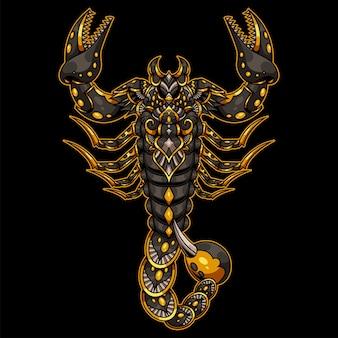 Skorpion narysowany w stylu zentangle