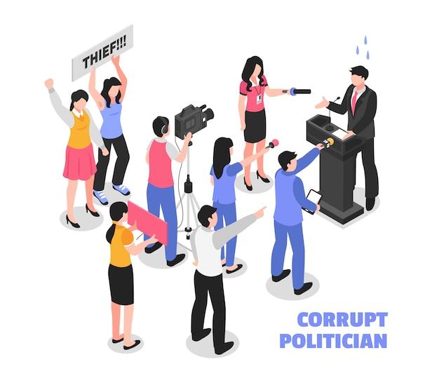 Skorumpowany polityk biały z politycznym złodziejem przemawiającym z trybuny i izometryczną protestującą publicznością