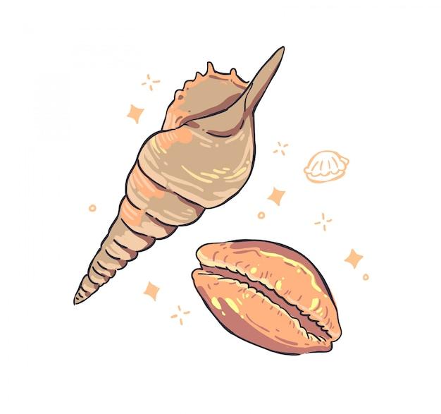 Skorupiaki doodle ilustracji
