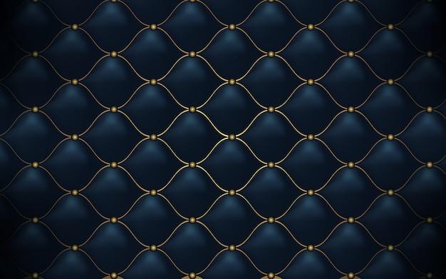 Skórzana tekstura. streszczenie wielokątne wzór luksus ciemny niebieski ze złotem