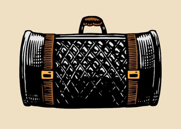 Skórzana torba na motocykl. walizka vintage retro dla biegacza. ręcznie rysowane grawerowany szkic monochromatyczny