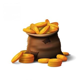 Skórzana torba złotych monet w stylu kreskówka 3d na białym tle