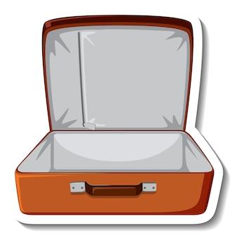 Skórzana walizka otwarta naklejka z kreskówek