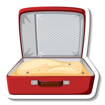 Skórzana walizka otwarta z naklejką z piaskiem
