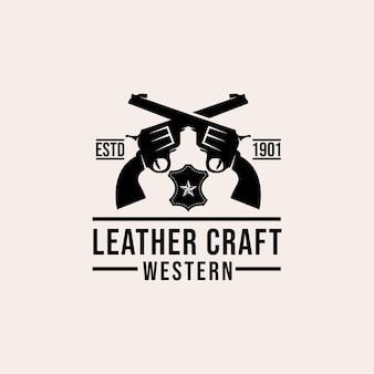 Skórzane zachodnie logo premium w stylu vintage