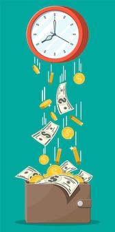 Skórzany portfel na pieniądze, monety banknoty spadające z zegarów. zapisywanie monety dolara w torebce. wzrost, dochód, oszczędności, inwestycje. bankowość, czas to pieniądz. bogactwo, sukces biznesowy. płaska ilustracja wektorowa